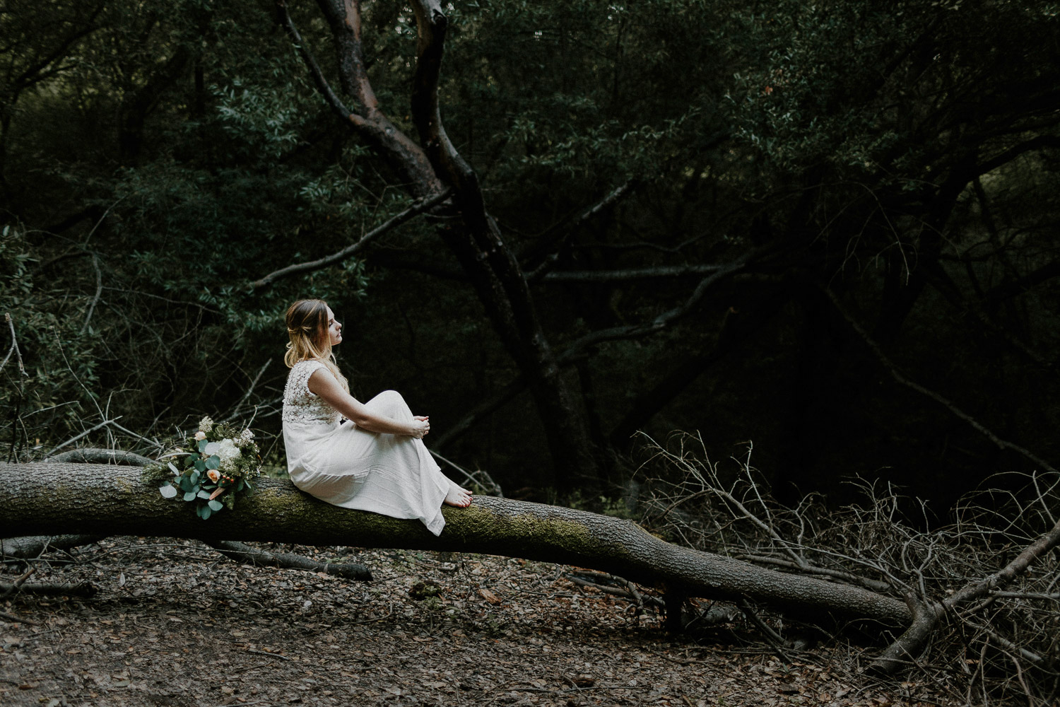 Image of bride sits on the dead tree with bouquet placed behind her