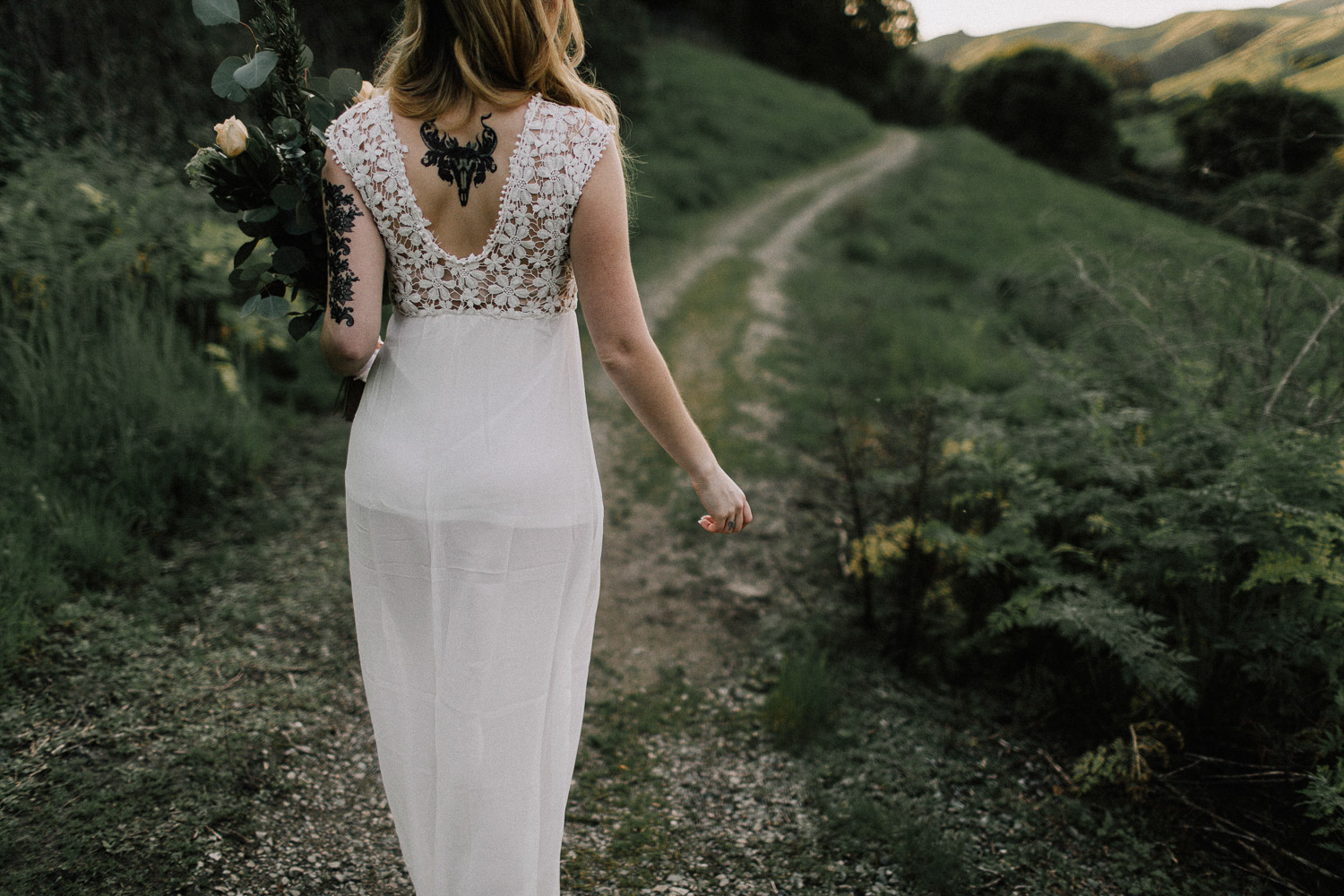 Image of the back of bride