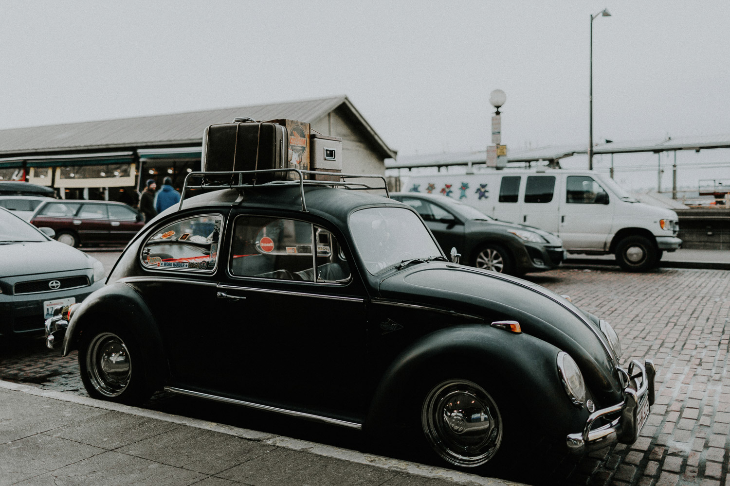 Image of vintage beetle on street
