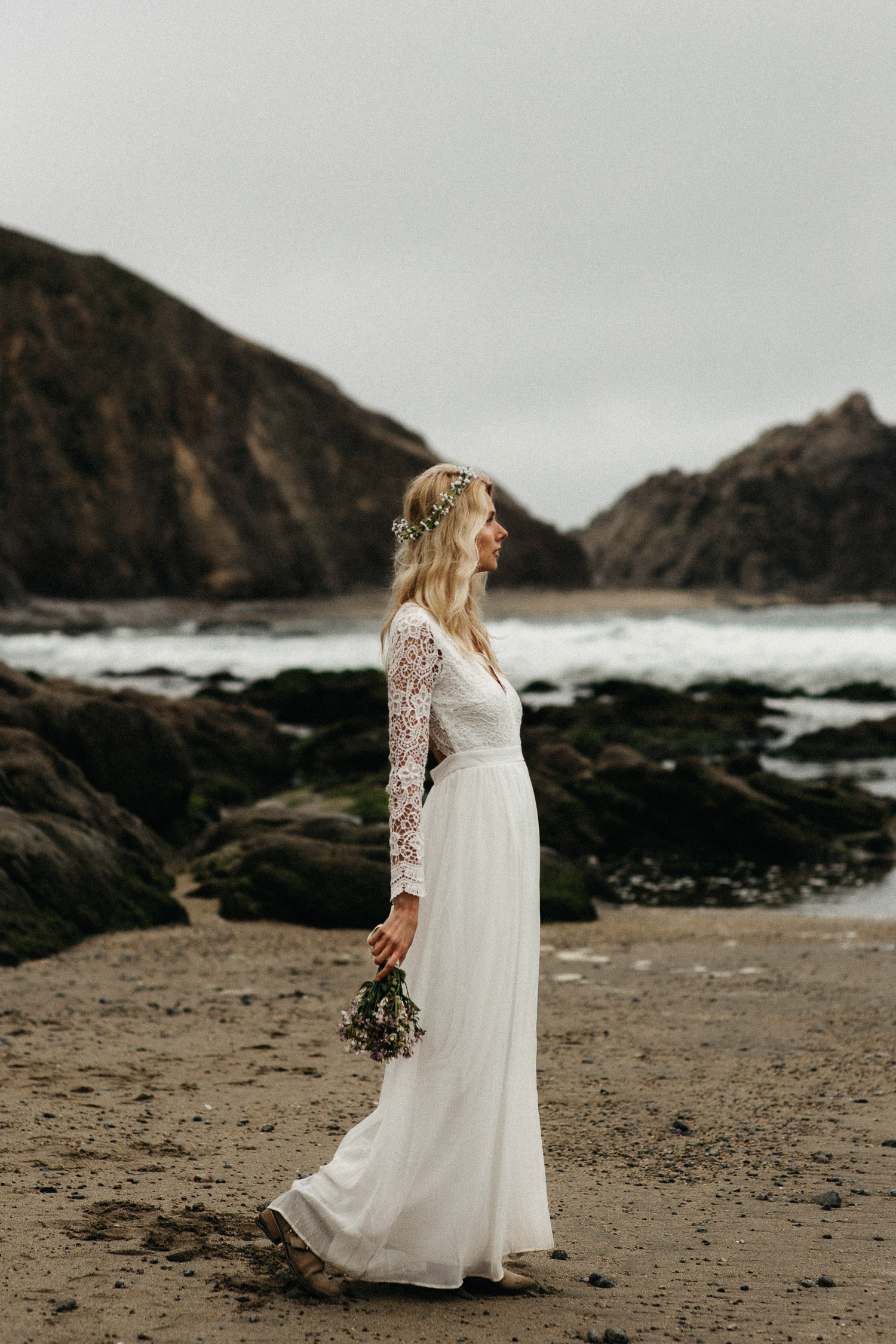 Image of bride portrait on beach