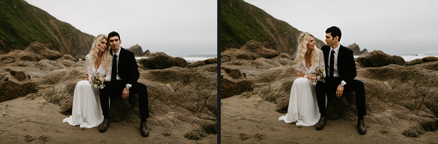 Image of bride and groom sit together on beach