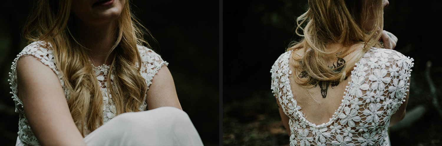 Image of bride's hair and tattoo details