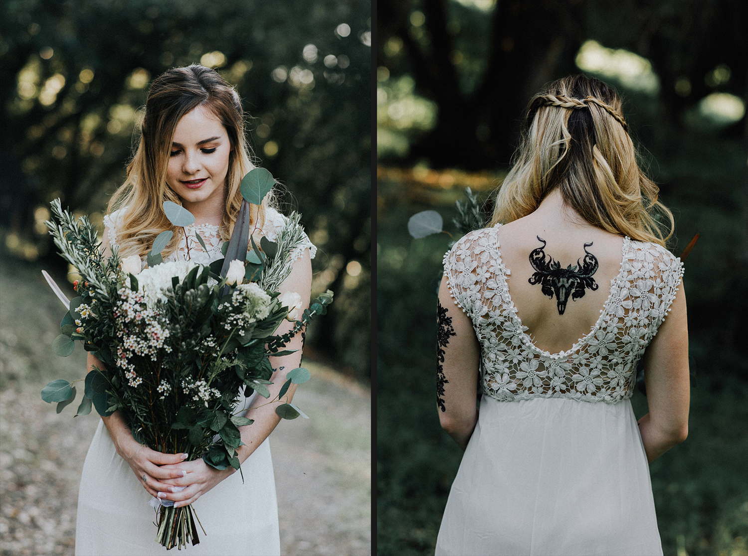 Image of bride holds the bouquet and the tattoo on her back