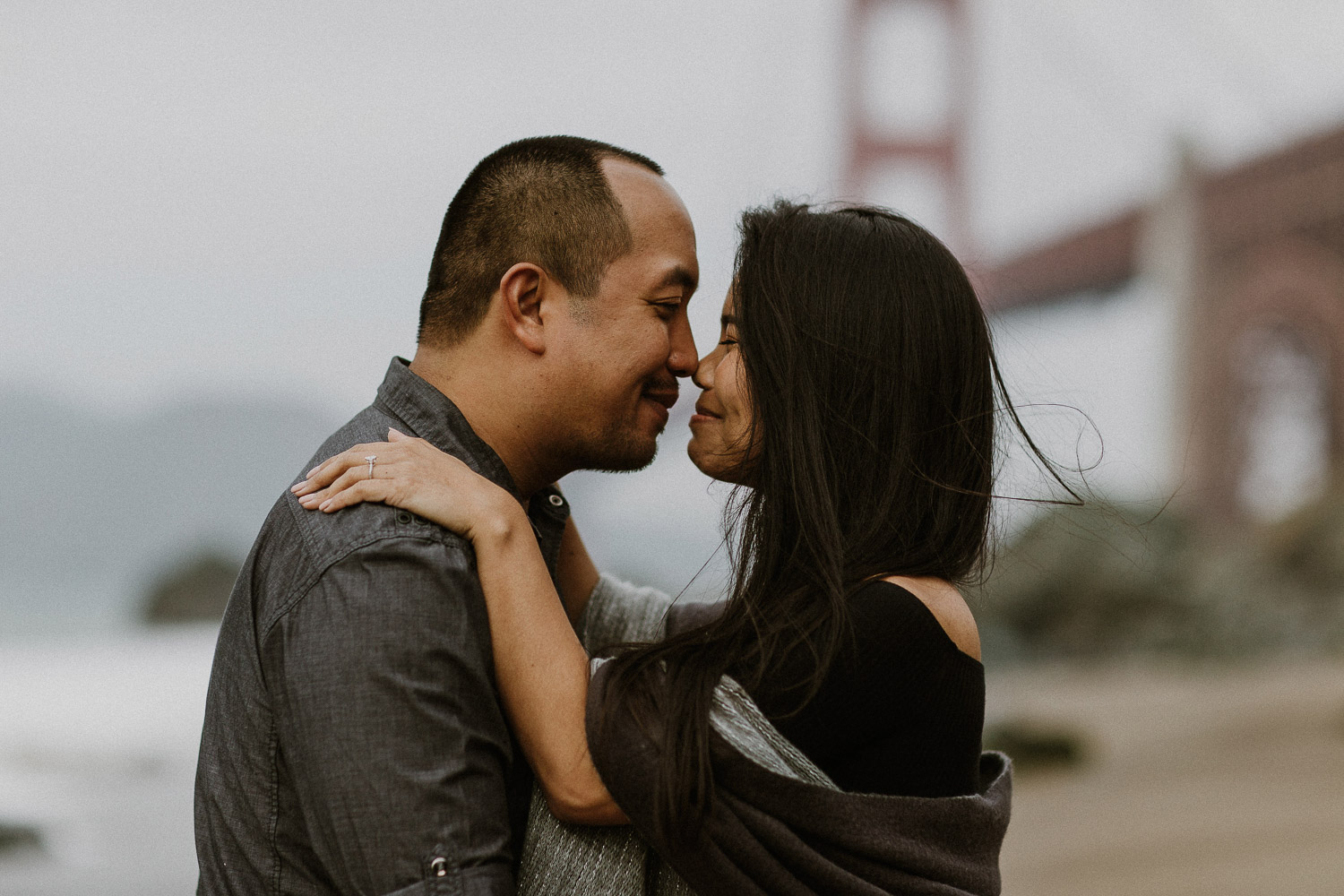 Image of Asian Couple Touches Each Other's Nose